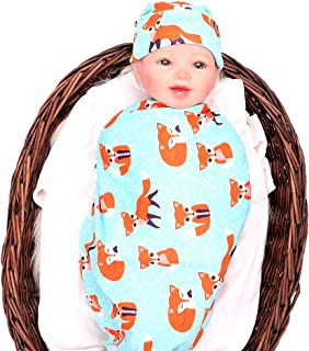 Ufraky Baby Cotton Muslin Swaddle Blankets for Newborn   Baby Receiving Blankets   Swaddling Blankets with Cute Pattern Design (Fox-hat)