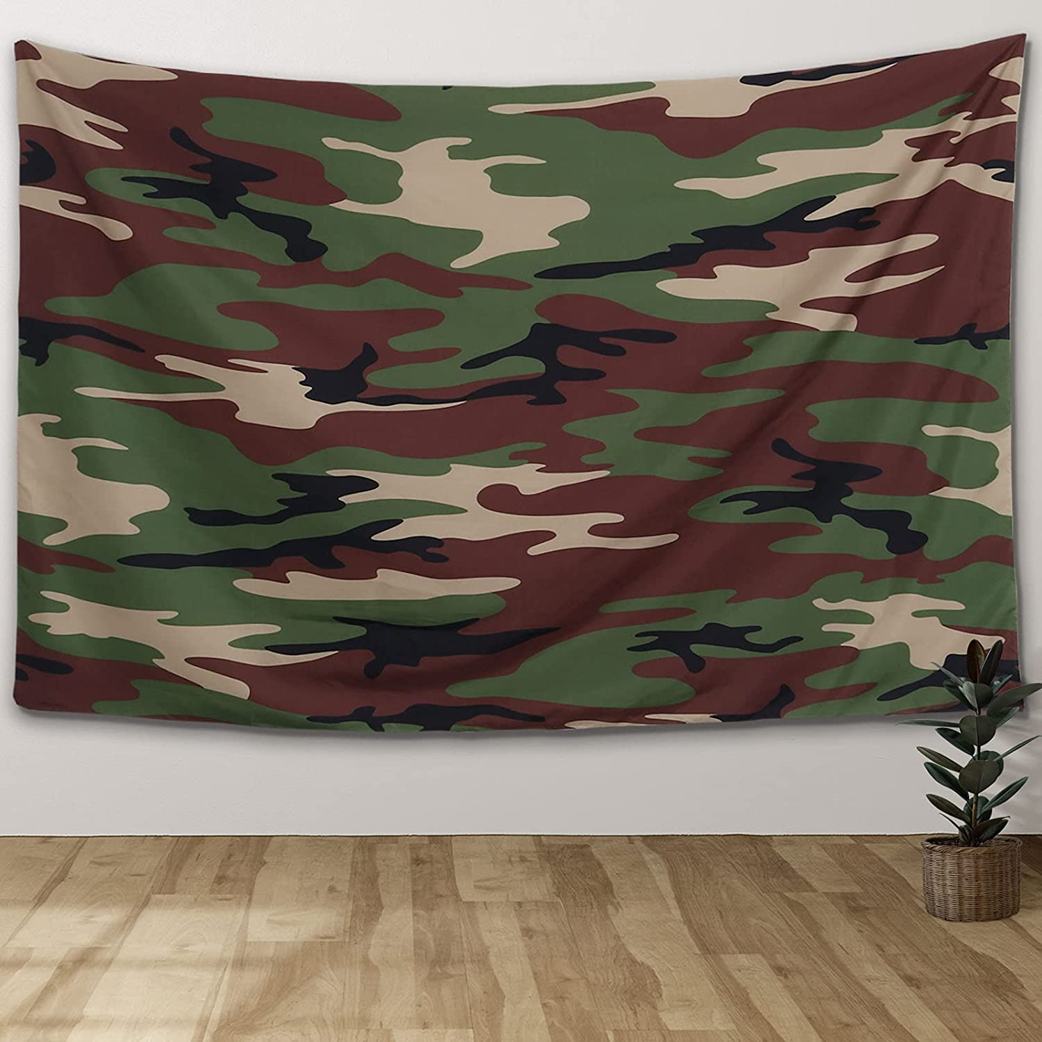 8Years Camouflage Wall Tapestry for Bedroom Aesthetic Trippy Green and Brown Camo Pixels Patten Fashion Tapestry Wall Hanging Home Dorm Decor for Living Room