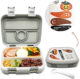 OKBONN Kids Lunch Box with Sticker(Halloween) - Leak-Proof, 4-Compartment Bento-Style Kids Bento Box with Spoon - Ideal Portion Sizes for Ages 3 to 7 - BPA-Free and Food-Safe Materials for School