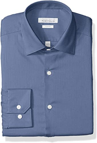 Perry Ellis Hommes's Slim Fit Wrinkle Libre Robe Shirt, Coastal f jord bleu, 17 34 35