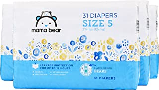 Amazon Brand - Mama Bear Diapers Size 5, 124 Count, Bears Print (4 packs of 31) [Packaging May Vary]