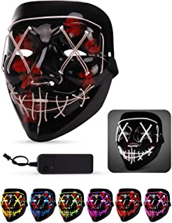 Lizber Halloween Mask, Led Light Up Mask with Neon Wires, Adjustable Scary Masquerade Glow Mask for Festivals, Parties, Carnivals and Raves, Glowing Mask for Men, Women, Kids, GhostWhite