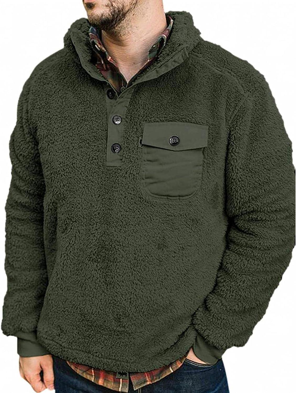 Men's Winter Long Sleeve Double-side Plush Fleece Pullover Sweatshirt Jacket Button Collar Warm Sweater Coat