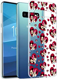 DISNEY COLLECTION Cute Clear Transparent Crystal Phone Case Compatible with Samsung Galaxy S10e Mickey Mouse Wallpaper Bumper Flexible Shockproof Protective Cover