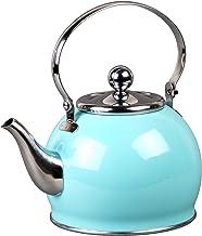 غلاية شاي من الحديد المقاوم للصدأ رويال من كريتيف هوم مع سلة قابلة للإزالة، مقبض قابل للطي، 4.4 لتر، لون أزرق سماوي