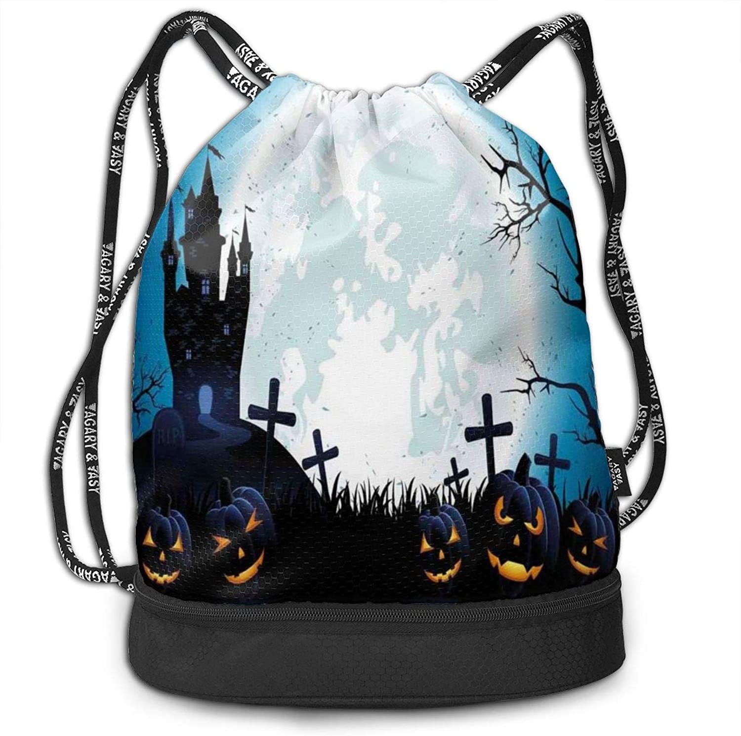 VANMASS Bundle Backpack Halloween Spooky Tree Pumpkin Sketchy Gym Large Capacity Shoulder Drawstring Bags