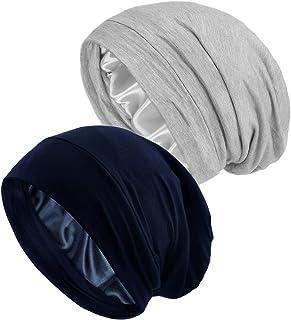 قبعة نوم للنساء، 2 من القبعات الليلية المبطنة بالحرير والساتان، غطاء راس للنوم، قبعة صوفية واسعة لمَن فقدن شعرهن بسبب العل...