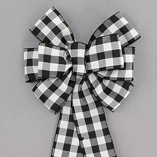 Black White Buffalo Plaid Christmas Wreath Bow with Size Options