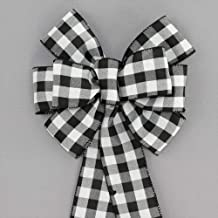 Black White Buffalo Plaid Christmas Wreath Bow with Size Options