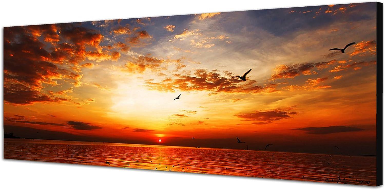 Augenblicke Wandbilder Keilrahmenbild Wandbild 150x50cm 150x50cm 150x50cm Meer Strand Sonnenuntergang Wolkenschleier B00UXLT45I 2b46b3
