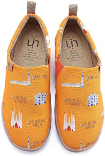 UIN Men's Art City Cute Canvas Barcelona Travel Shoe Orange
