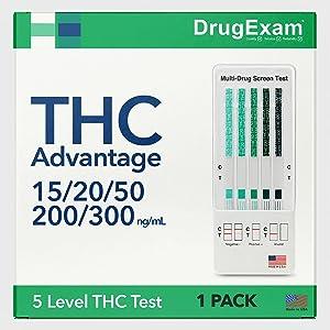 1 Pack - DrugExam THC Advantage Made in USA Multi Level Marijuana Home Urine Test Kit. Highly Sensitive THC 5 Level Drug Test Kit. Detects at 15 ng/mL, 20 ng/mL, 50 ng/mL, 200 ng/mL and 300 ng/mL