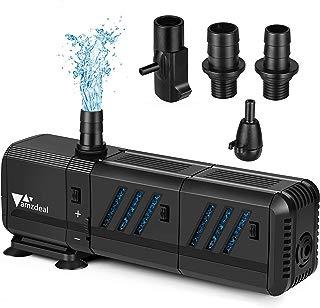 amzdeal Bomba Sumergible 1500L/H 15W con Filtro y 2 boquillas, Bomba de Agua 1.6M Ultra Silenciosa para Pecera Acuario Jardín Estanque Fuente