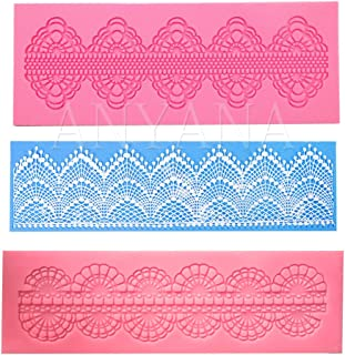 Anyana set of 3 sugar edible cake silicone fondant impression lace mat cake decorating mold gum paste cupcake topper tool icing candy imprint baking moulds trimming
