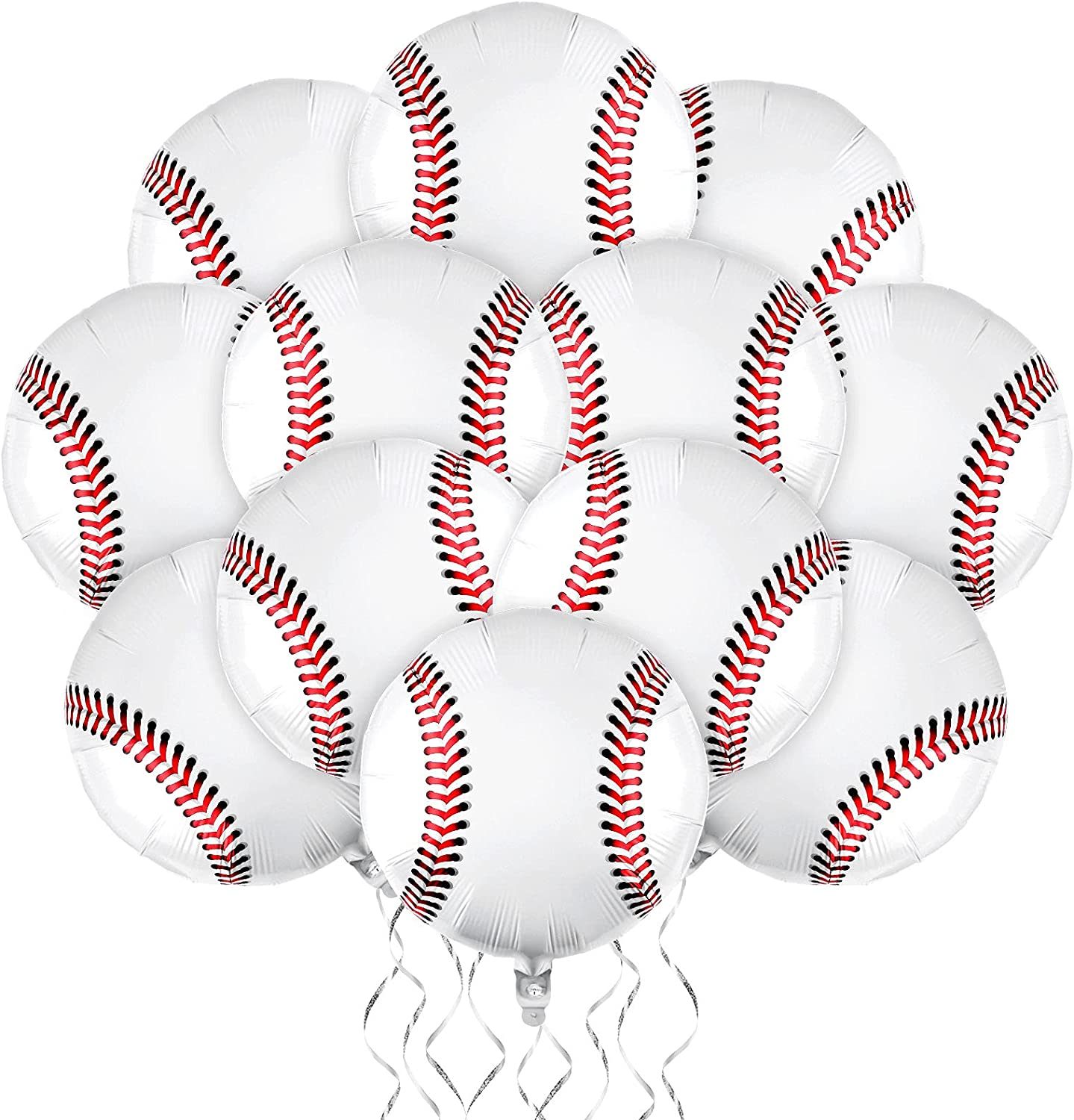durony 12 Pieces 18 inches Baseball Balloons Baseball Themed Party Decorations Foil Mylar Baseball Balloons For Birthday Party Supplies
