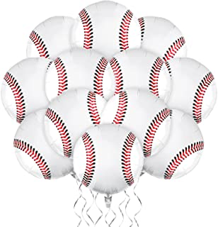 durony 12 Pieces 18 inches Baseball Balloons Baseball Themed Party Decorations Foil Mylar Baseball Balloons For Birthday P...