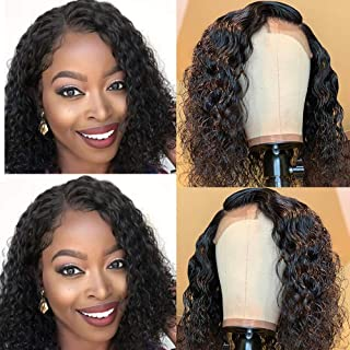 Maxine Water Wave Wig 360 Lace Frontal Wig Pre Plucked with Baby Hair Wet and Wavy Human Hair Wigs for Black Women Natural Color 12inch
