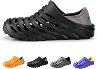 PHILDA Men's Lightweight Breathable Slippers Quick-Drying Water Shoes Non-Slip Round Head Garden Clogs Sandals for Summer