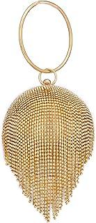 Zuby Women's Bridal, Wedding, Casual Handicraft Diamond Golden Party Wear Round Bridal Metallic Gold Clutch,clutch for women