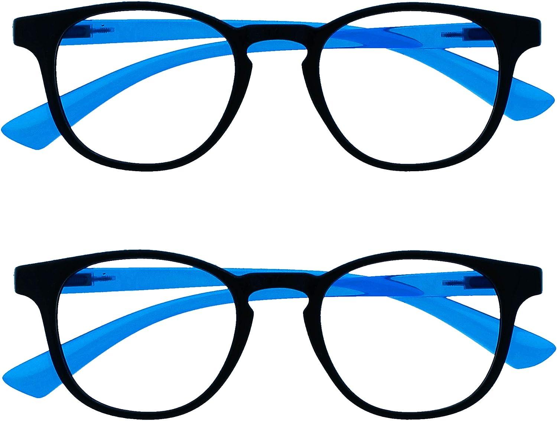 Opulize Niños Pack 2 Bloqueo Luz Azul Gafas Pantalla Proteccion Niños Muchachas Años 6+ Negro Neon Azul Rosa BB47