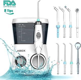 ABOX Irrigador Dental Profesional, irrigador bucal con 8 boquillas multifuncionales, 10 ajustes de presión de agua y 600ml Capacidad del tanque de agua para la familia, Aprovado por la FDA, CE