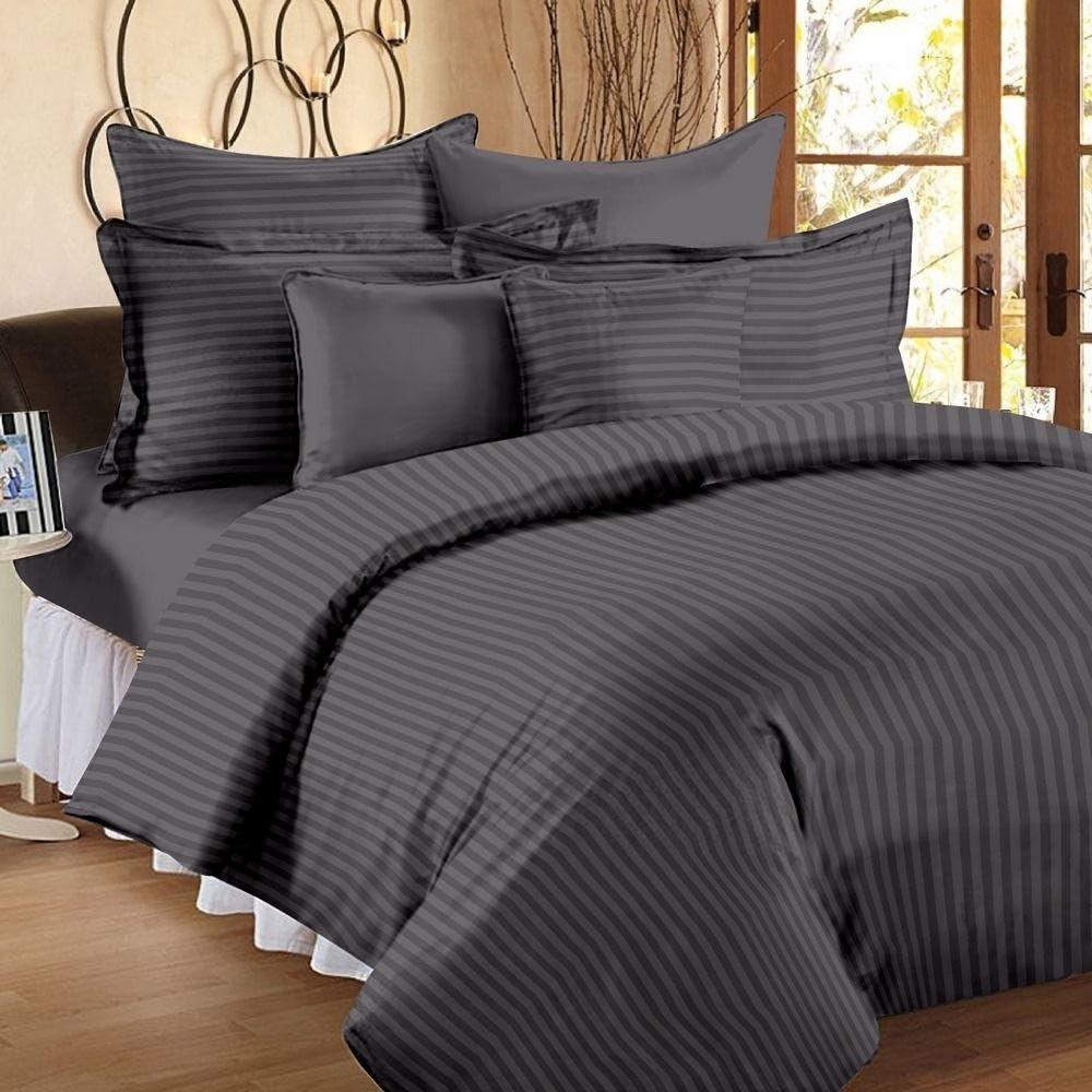1200hilos juego de sábanas (elefante gris de rayas, Reino Unido tamaño Super King 180x 200cm–(6ft x 6ft 6in), tamaño de bolsillo 42cm) 100% algodón egipcio Premium calidad