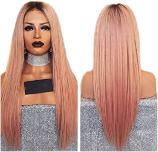 Long Straight Wig Ombre Pink Wig lace front High Temperature Synthetic Lace Front Wig With Brown Root Glueless Wigs For Black Women