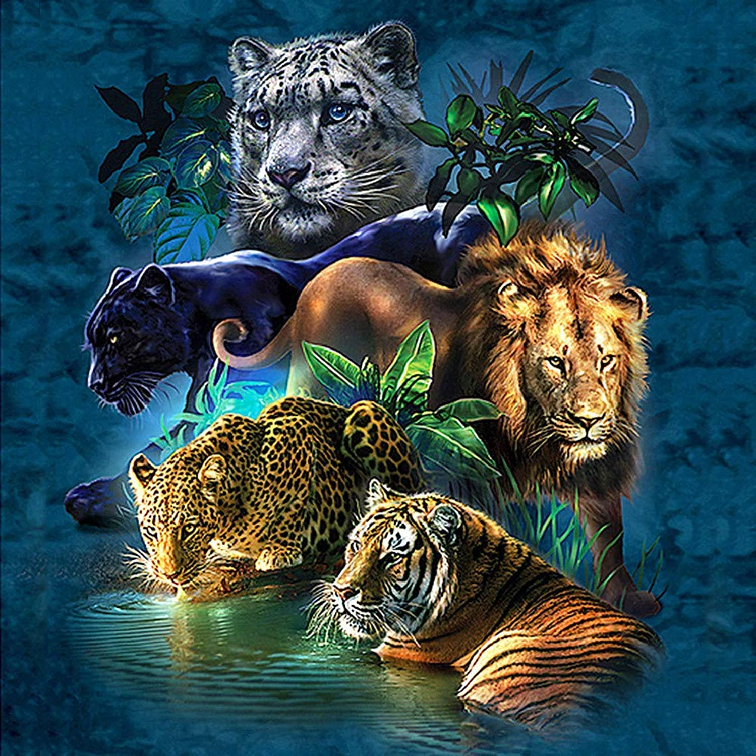 BoutiQ Diamond Painting by Number Kits 5D DIY Crystal Rhinestone Diamond Embroidery Paintings Pictures Arts Craft for Home Wall Decor Full Drills Decorative Cross Stitch Animals Tiger Leopard