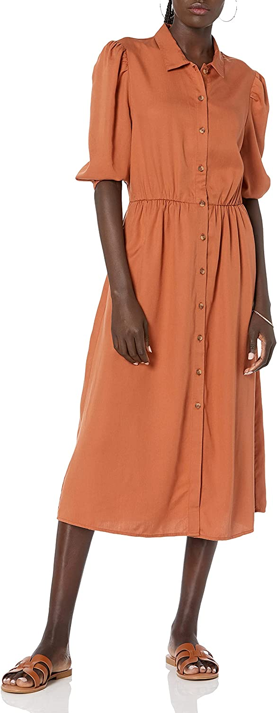 The Drop Women's Ellen Puff-Sleeve Open Back Midi Shirt Dress