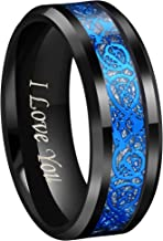 CROWNAL 4mm 6mm 8mm 10mm Blue Groove Black Matte Finish Tungsten Carbide Wedding Band Ring Engraved I Love You Size 4 to 17