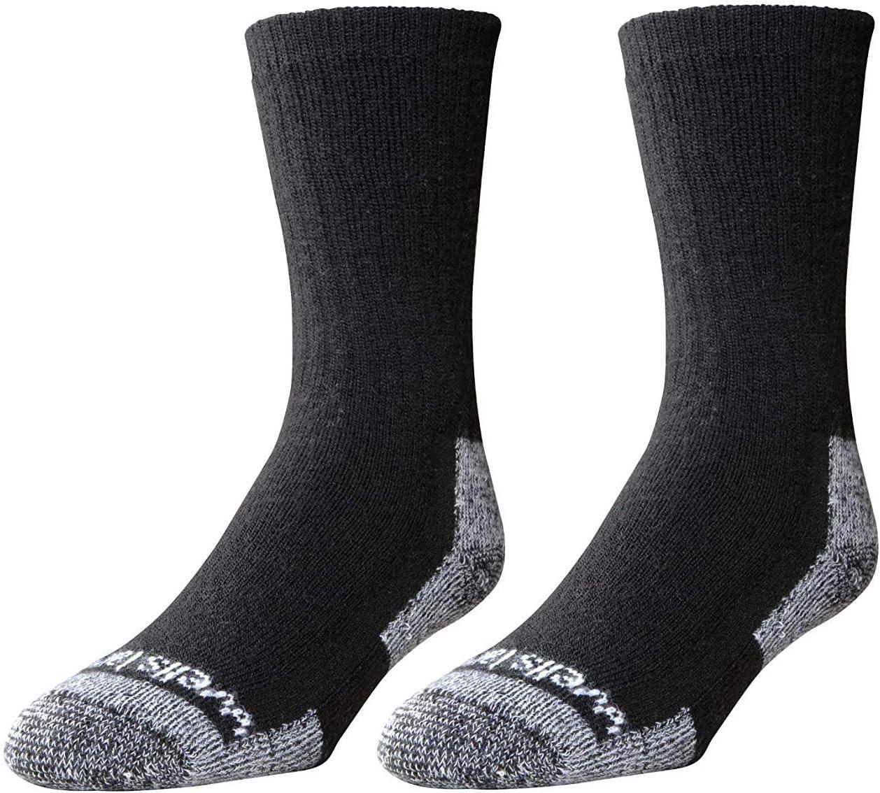 2-Pair Pack Wells Lamont 4 years warranty Men's Socks: Black Blend Wool Max 50% OFF Crew
