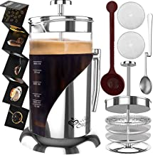 French Press Coffee Maker - BEST Presses Makers - 34 Oz, 8 Cup - The Only Encapsulated Lid Stainless Steel 304 NOT Plastic...