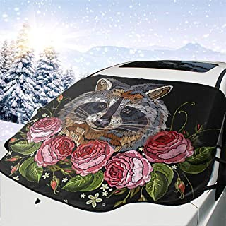 LYMT Frontscheibenabdeckung Scheibenabdeckung Waschbär Rose Auto Windschutzscheibe Abdeckung Faltbare Auto Abdeckung für UV Strahlung, Sonne, Staub, Frost und Schnee 147 * 118cm