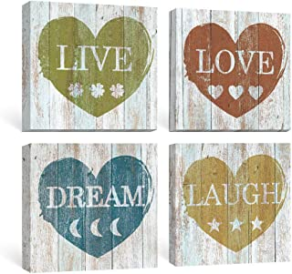 SUMGAR Rustic Wall Art Bedroom Inspirational Quotes Pictures Bathroom Farmhouse Decor Motivational Blue Canvas Paintings Dorm Grey Yellow Prints Gray Red Artwork Set of 4Home Decorations Gifts,12x12 i