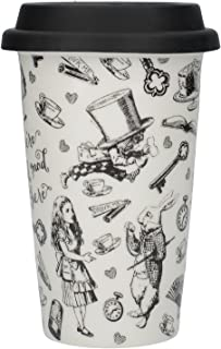 Victoria and Albert Alice in Wonderland Porcelain Insulated | Double Walled Travel Mug | Silicone Lid | 350ml 11.83 fl oz