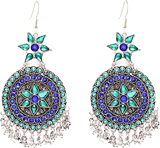 Crunchy Fashion Bollywood Style Oxidised Silver Blue Crystal Indian Jewelry Earrings for Women