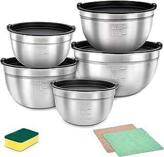 Saladier Inox avec Couvercle 5PCS, HAUSPROFI Bol Mélangeur pour Pâtisserie/Pâte/Petit Déjeuner 1,3L/1,8L/2,8L/3,7L/4,4L
