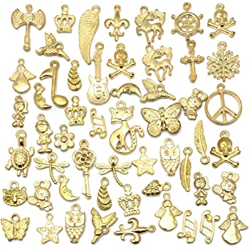 20 Stunning Funky Key Antique Gold Charms 16-21mm New mix !