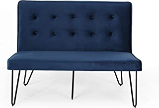 Christopher Knight Home Beatrice Minimalist Dining Bench Settee with Tufted Velvet Cushion and Iron Legs-Cobalt and Black