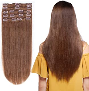 12-22inch Clip in Remy Human Hair Extensions #6 Light Brown Grade 7A Thick to End Full Head Natural Hair Long Straight 8 Pieces 18clips 80g 14