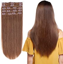 10-24inch Clip in Remy Human Hair Extensions Grade 7A Thick to End Full Head Natural Hair Long Straight 8 Pieces 18clips 110g 22