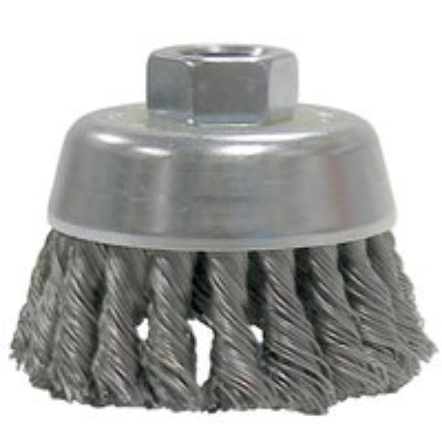 5//8-11 UNC Nut Weiler 13712 2-3//4 Single Row Hurricane Knot Wire Cup Brush.020 Steel Fill