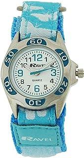 Ravel Girls White Dial Blue/White Butterfly Easy Fasten Strap Watch R1507.52