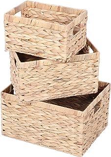 lyrlody- Boîtes de Rangement pour Placard ou Etagère Panier de Rangement Tressé en Jacinthe d'eau Boîte de Rangement avec ...