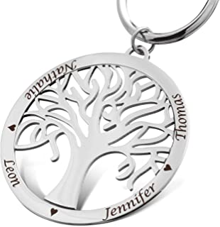 Jewellery Beautiful Silver Single Keyring with Personalised Engraving Trees with Chain Stainless Steel SA23