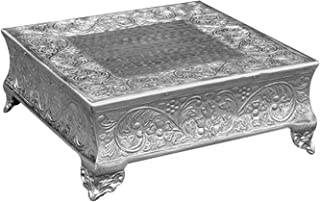 GiftBay Creations 751-16S Wedding Square Cake Stand, 16-Inch, Silver
