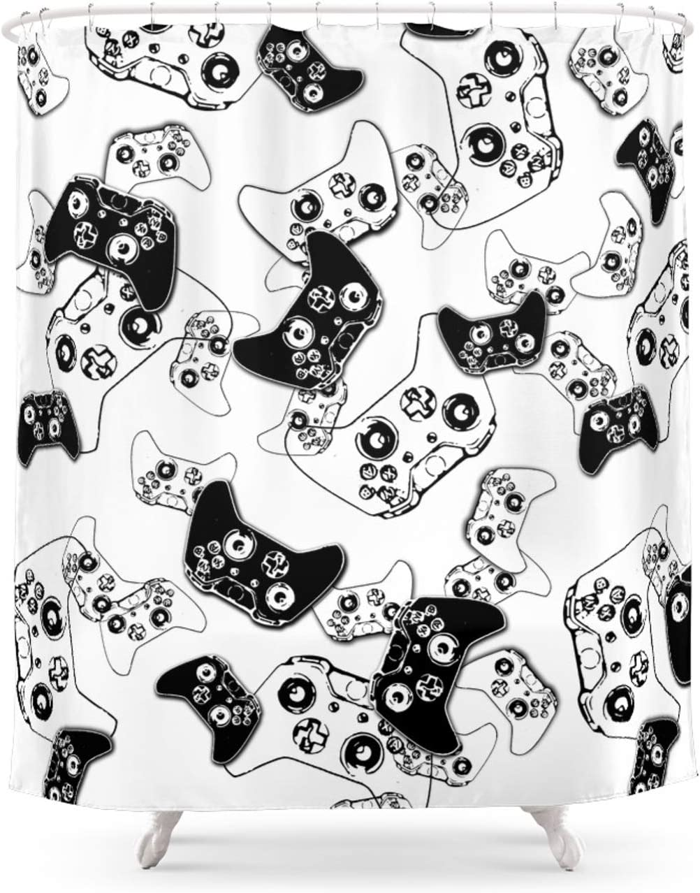 Society6 Video Game Black On Ranking TOP19 White by - Ts55 Shower on Purchase 7 Curtain
