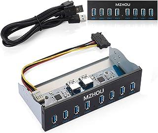 MZHOU Panel Frontal USB, concentrador USB3.0 19PIN de 8 Puertos Extensión de Unidad óptica Adaptador del Panel Frontal para computadora PC