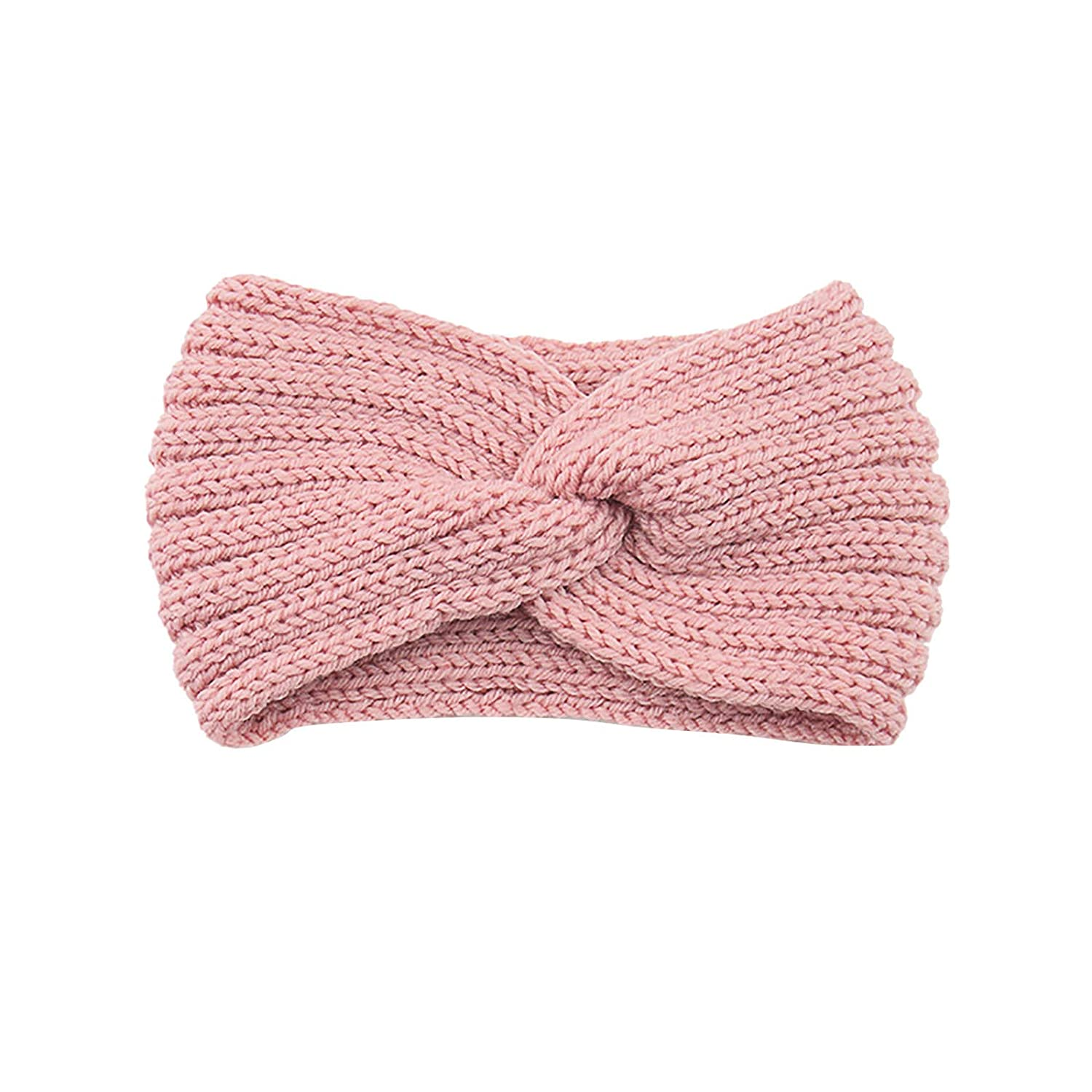 Thatso Winter Headbands for Women, Ear Warmer Headband with Buttons, Soft Stretchy Thick Cable Knitted Turban Hairband Gift (Pink,One Size)