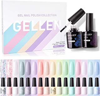Gellen 16 Colors Gel Nail Polish Kit, With Top Base Coat - Fresh Macaron Girly Colors Collection, Popular Bright Nail Art ...